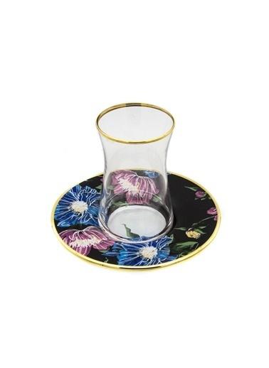 Marianna Flower Siyah Cam Çay Seti 12 Parça Siyah